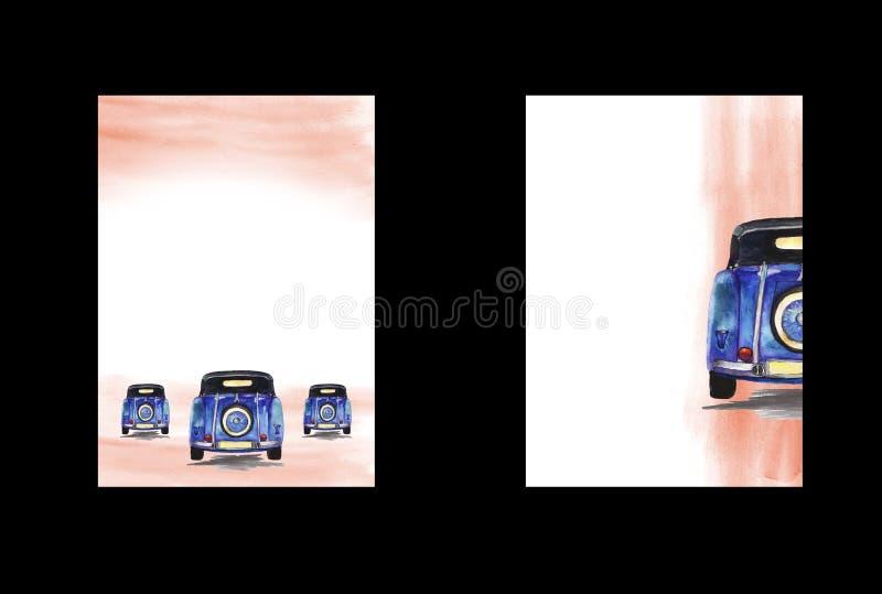 Предпосылка акварели с изображением ретро автомобиля, A4 форматом, чертеж руки, шаблон формы стоковое фото