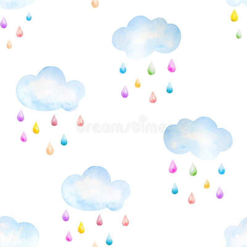Предпосылка акварели с облаками и падениями бесплатная иллюстрация