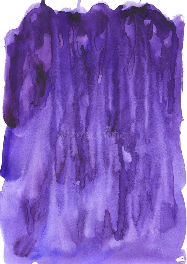 Предпосылка акварели с потеками пурпура краски иллюстрация штока
