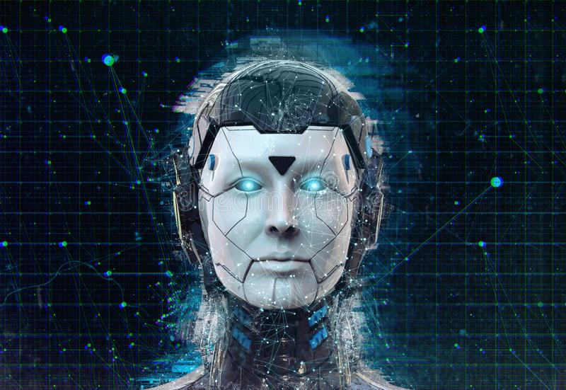 Предпосылка андроида киборга женщины научной фантастики робота технологии - искусственный интеллект wallpaper-3D гуманоида предст бесплатная иллюстрация
