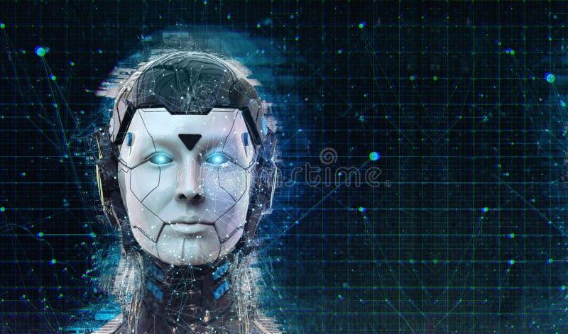 Предпосылка андроида киборга женщины научной фантастики робота технологии - искусственный интеллект wallpaper-3D гуманоида предст иллюстрация вектора