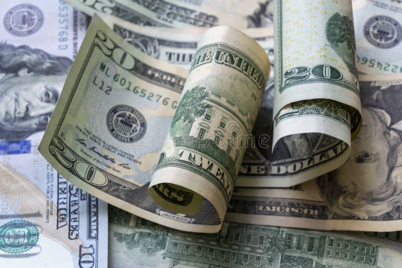 Предпосылка банкнот доллара конца-вверх американская стоковое фото rf