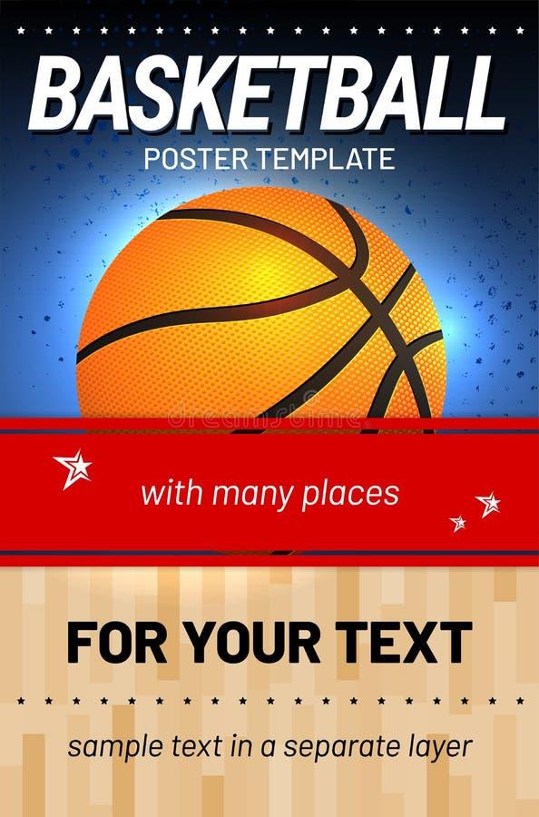 Предпосылка баскетбола - шаблон для вашего дизайна спорта иллюстрация штока