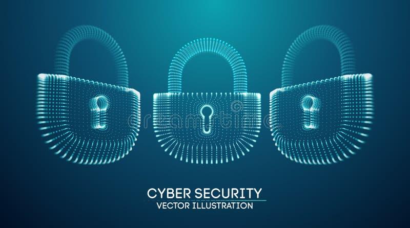 Предпосылка безопасностью кибер интернета Coputer Иллюстрация вектора злодеяния кибер цифровой замок бесплатная иллюстрация