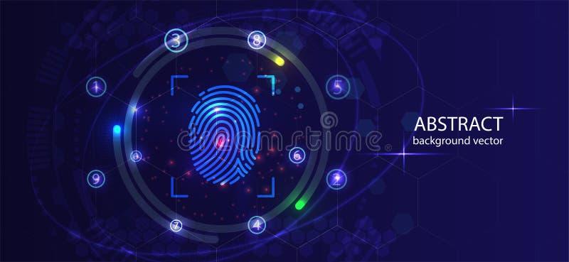 Предпосылка безопасностью с замком Сканирование отпечатка пальцев Технология конспекта цифровая схематическая интернет вебсайта к иллюстрация вектора