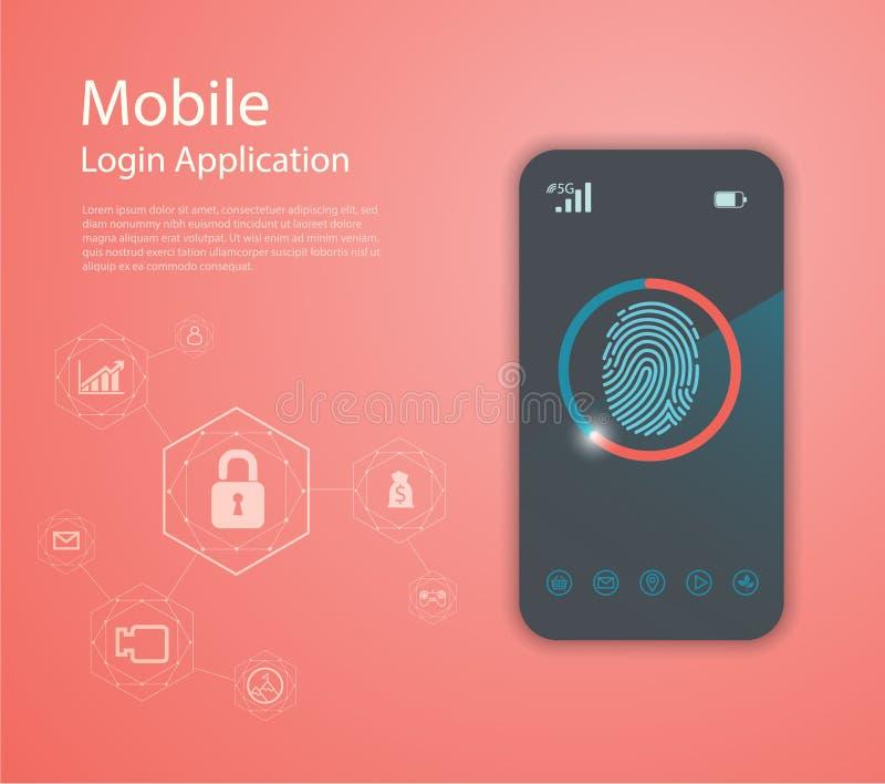 Предпосылка безопасностью с замком Сканирование отпечатка пальцев Технология конспекта цифровая схематическая интернет вебсайта к стоковая фотография rf