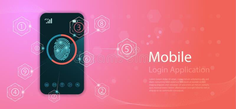 Предпосылка безопасностью с замком Сканирование отпечатка пальцев Технология конспекта цифровая схематическая интернет вебсайта к стоковое изображение