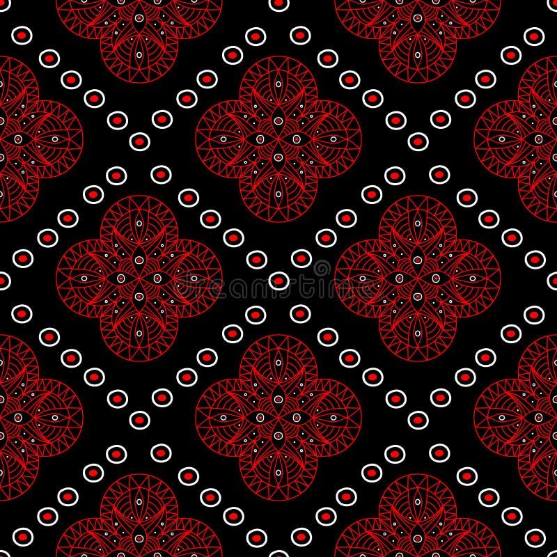 Предпосылка безшовной мандалы геометрическая черная С красными и белыми элементами бесплатная иллюстрация