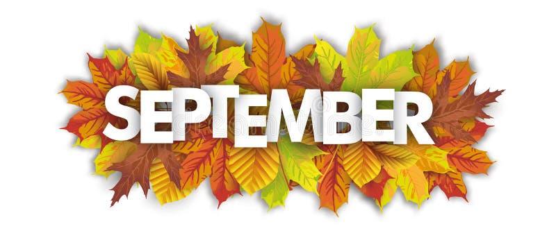 Предпосылка белизны заголовка в сентябре листвы осени иллюстрация штока