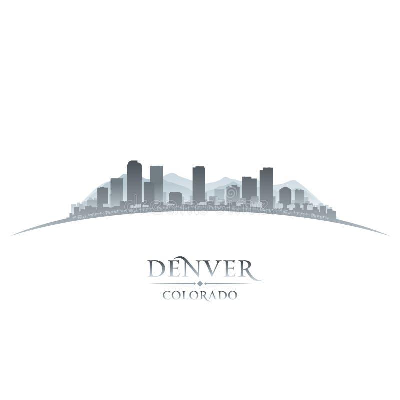 Предпосылка белизны силуэта горизонта города Денвера Колорадо иллюстрация штока