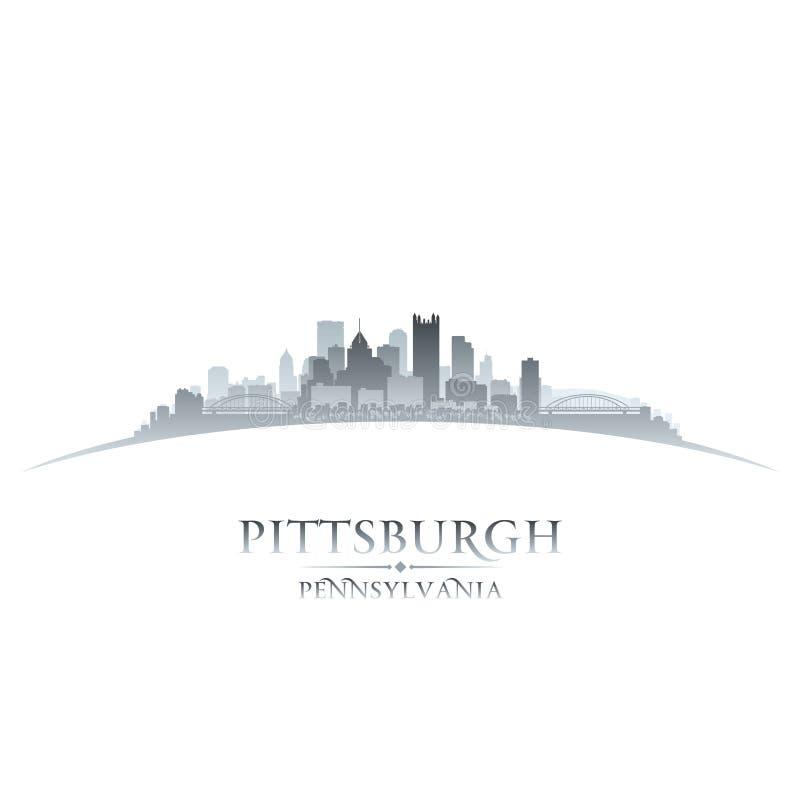 Предпосылка белизны силуэта горизонта города Питтсбурга Пенсильвании иллюстрация вектора