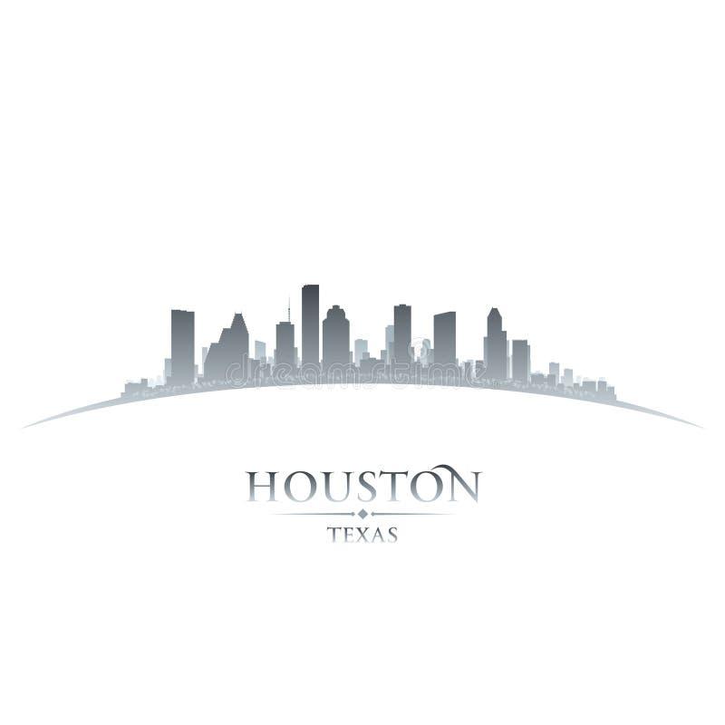 Предпосылка белизны силуэта горизонта города Хьюстона Техаса иллюстрация штока