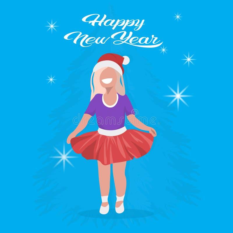 Предпосылка белокурого персонажа из мультфильма девочек концепции веселого рождества Нового Года шляпы девушки красного счастливо бесплатная иллюстрация