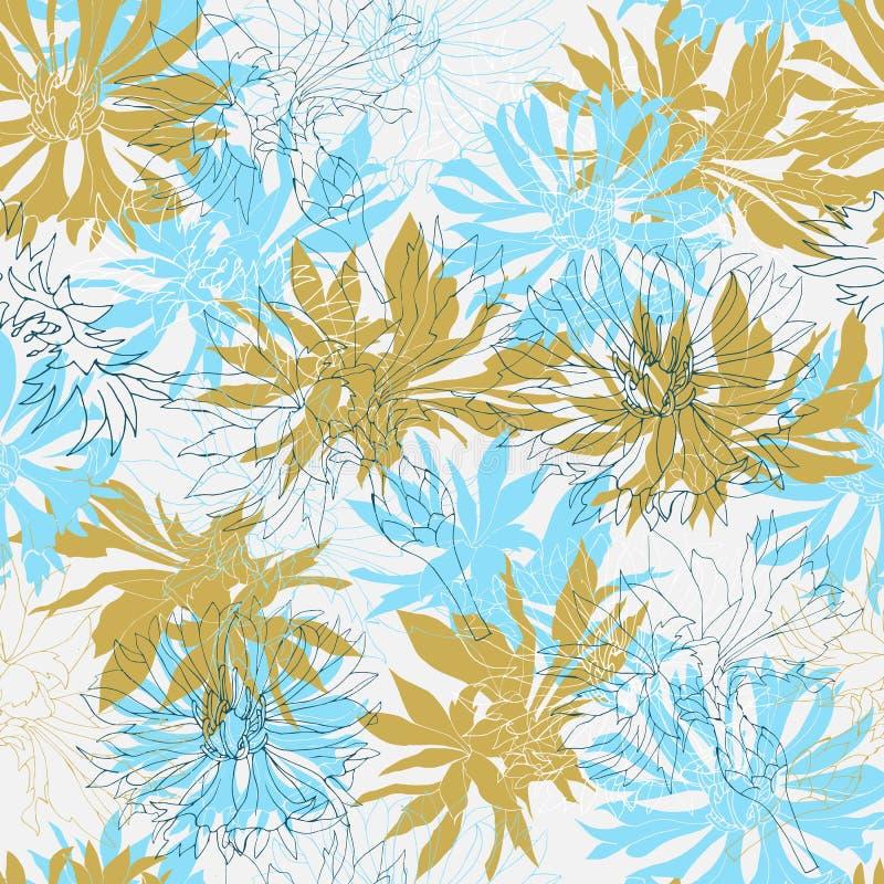 Предпосылка белых и голубых оранжевых цветков на серой предпосылке Безшовная флористическая текстура для тканей, плиток, обоев бесплатная иллюстрация