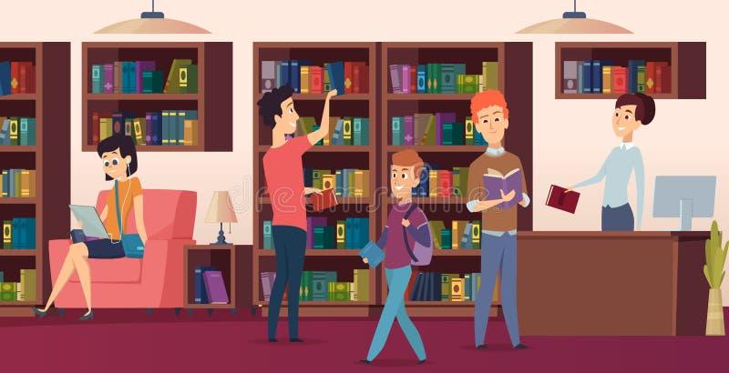 Предпосылка библиотеки Книжные полки в студентах biblioteca школы выбрали изображения вектора книг иллюстрация вектора