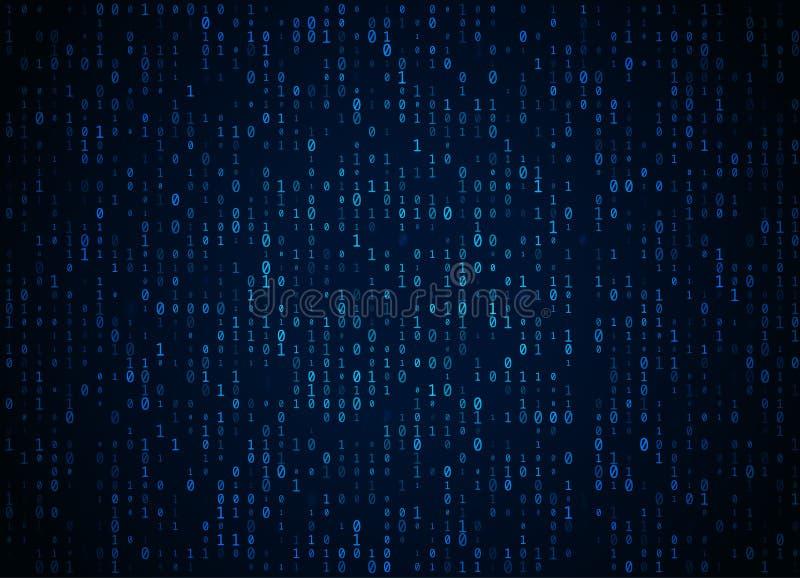 Предпосылка бинарного кода вектора синяя Большие данные и программируя рубить, глубокая расшифровка и шифрование, течь компьютера бесплатная иллюстрация