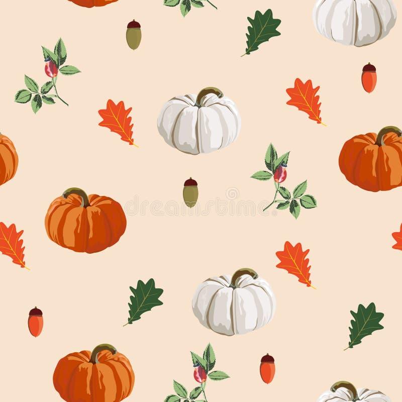 Предпосылка благодарения безшовная - картина листьев и овощей Иллюстрация осени вектора стиля акварели иллюстрация штока