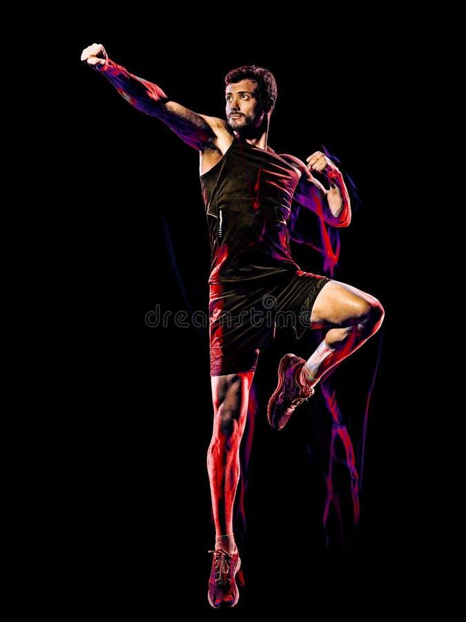 Предпосылка боя тела тренировки фитнеса cardio кладя в коробку изолированная человеком черная стоковое изображение