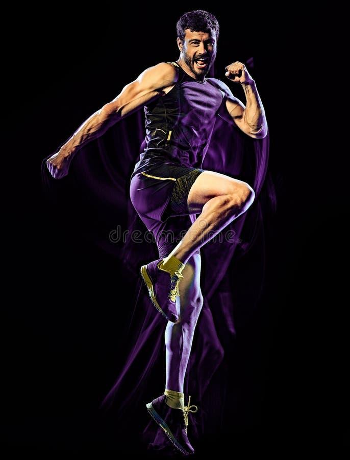 Предпосылка боя тела тренировки фитнеса cardio кладя в коробку изолированная человеком черная стоковое изображение rf