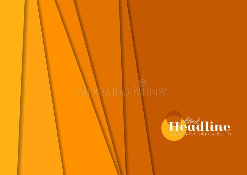Предпосылка брошюры абстрактного оранжевого техника корпоративная иллюстрация вектора