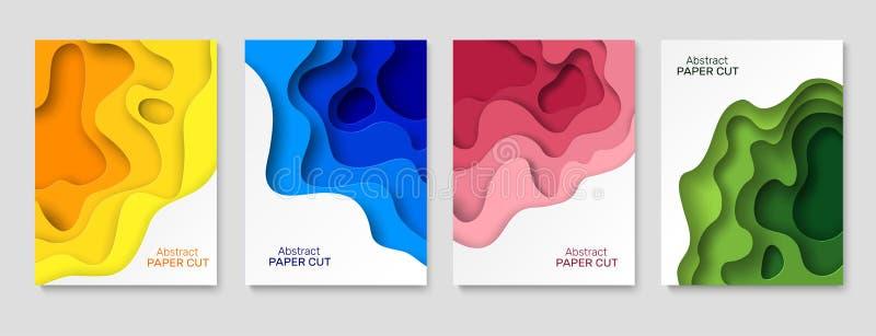 Предпосылка бумаги выреза Формы отрезка бумаги конспекта, красочные изогнутые слои с тенью Режущ искусство бумаг творческое бесплатная иллюстрация