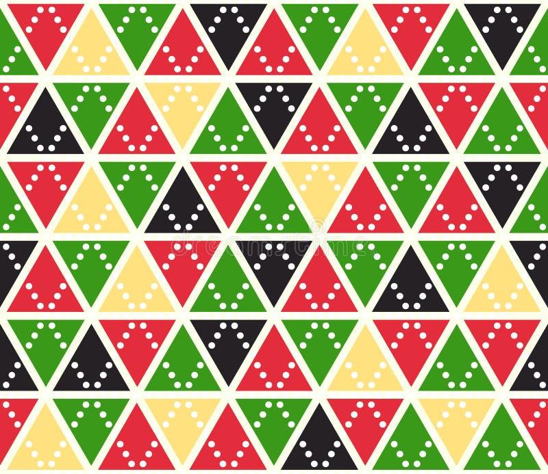 Предпосылка вектора абстрактная, безшовная картина Рождество красит текстуру треугольников Красная зеленая желтая геометрическая  иллюстрация вектора