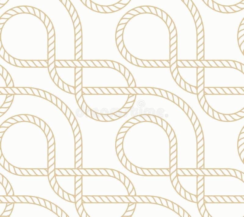 Предпосылка вектора безшовная с морской веревочкой Белизна и золото картины Nautic иллюстрация штока