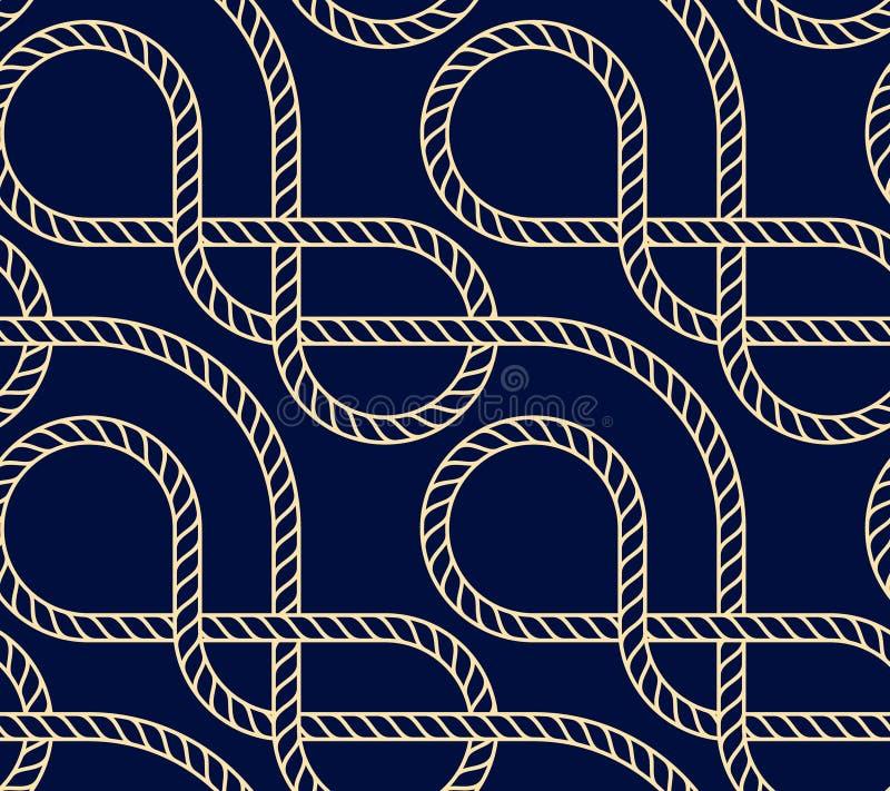 Предпосылка вектора безшовная с морской веревочкой Картина Nautic темно-синая и золото иллюстрация штока