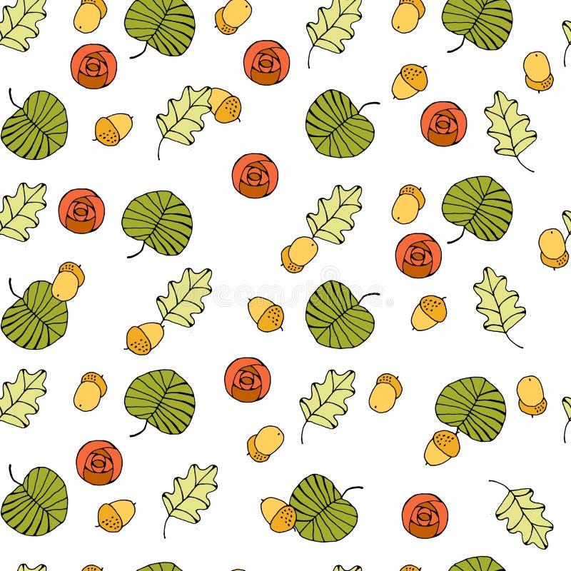 Предпосылка вектора безшовная с покрашенными листьями иллюстрация вектора