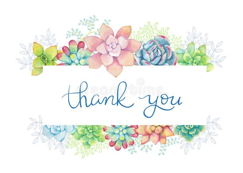 Предпосылка вектора горизонтальная флористическая в стиле акварели Succulents покрашенные в акварели Спасибо карта иллюстрация штока