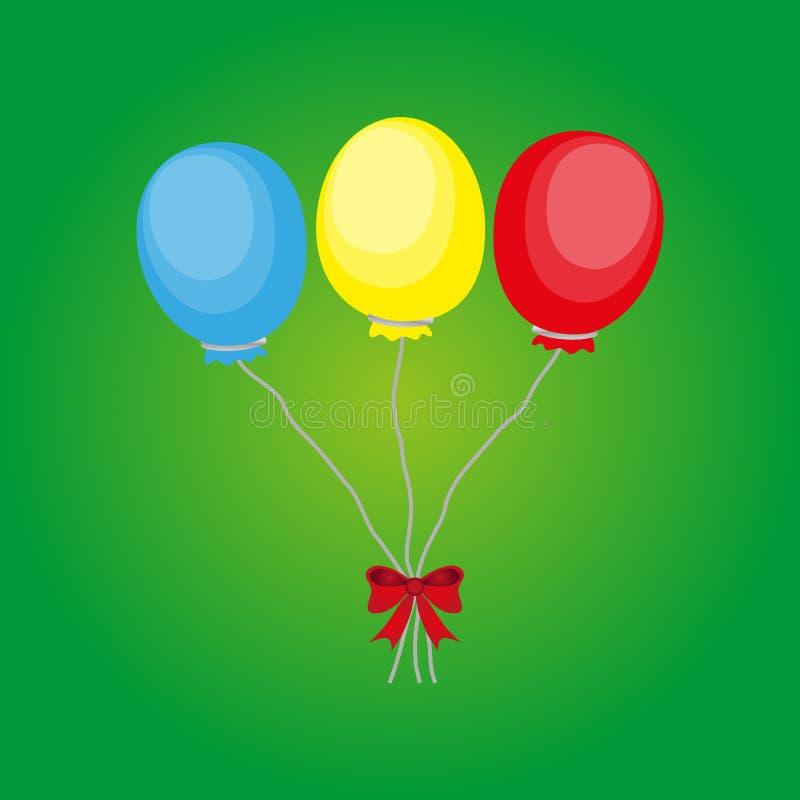 Предпосылка вектора дня рождения - красочные праздничные воздушные шары со смычком для карты торжеств в изолированной белой предп иллюстрация вектора