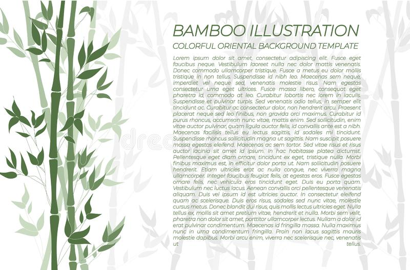 Предпосылка вектора естественная бамбуковая, горизонтальное зеленое красочное знамя, образец текста иллюстрация штока