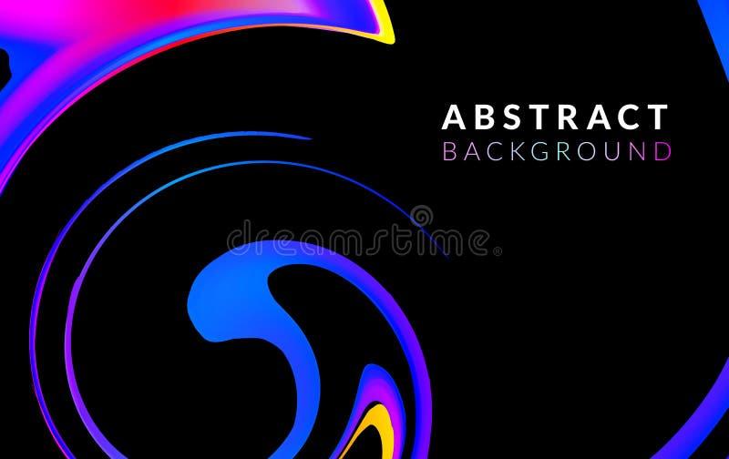 Предпосылка вектора жидкого или жидкостного динамического цвета абстрактная Ультрамодный красочный дизайн подачи Спиральная форма иллюстрация штока