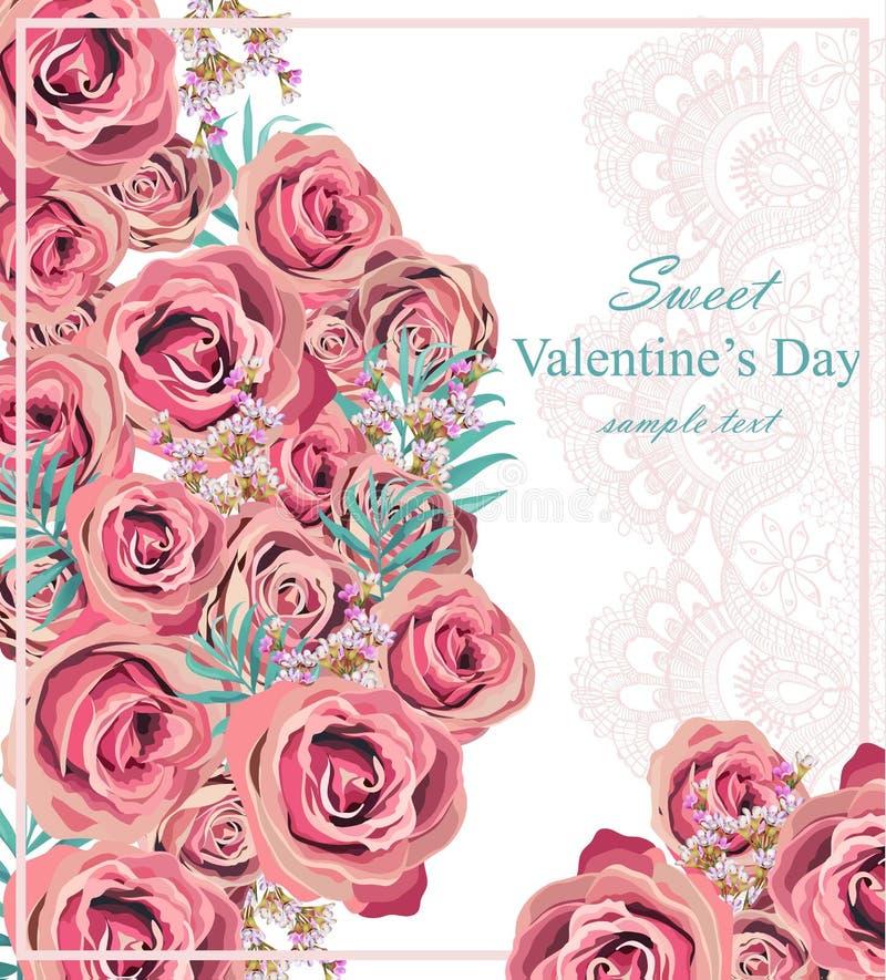 Предпосылка вектора карточки винтажных роз флористическая Чувствительные детали шнурка бесплатная иллюстрация