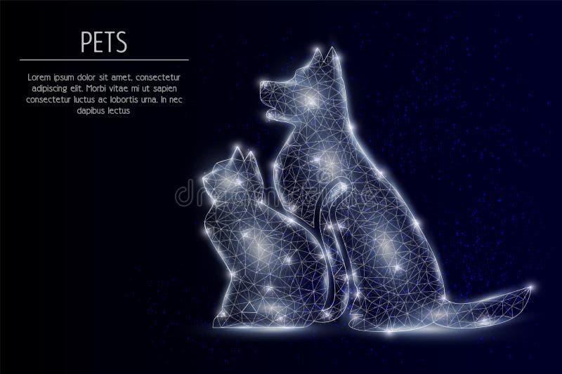 Предпосылка вектора кота и собаки геометрическая полигональная иллюстрация вектора
