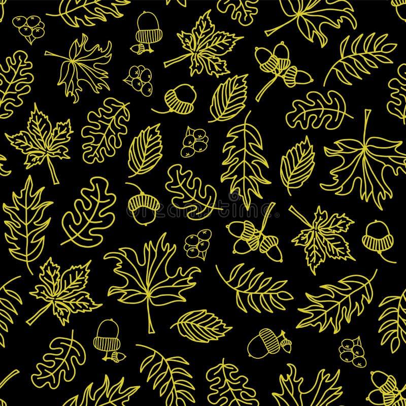 Предпосылка вектора листьев осени безшовная Светло-зеленые листья на черной предпосылке Жолуди, дуб, картина дерева клена doodle бесплатная иллюстрация