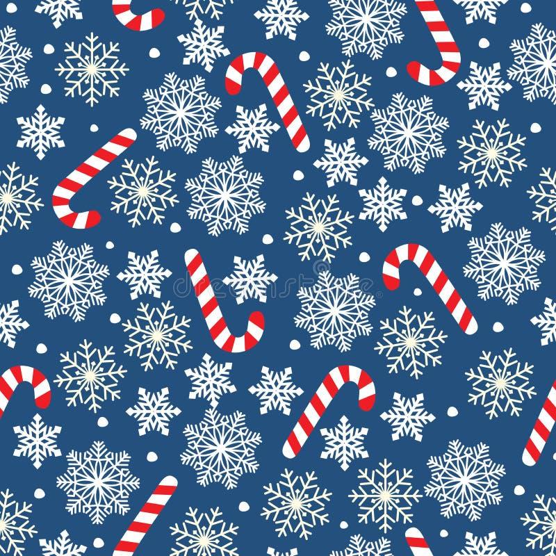 Предпосылка вектора Нового Года безшовная со снежинками и конфетами Sno рождества и Нового Года иллюстрации вектора праздничное б бесплатная иллюстрация