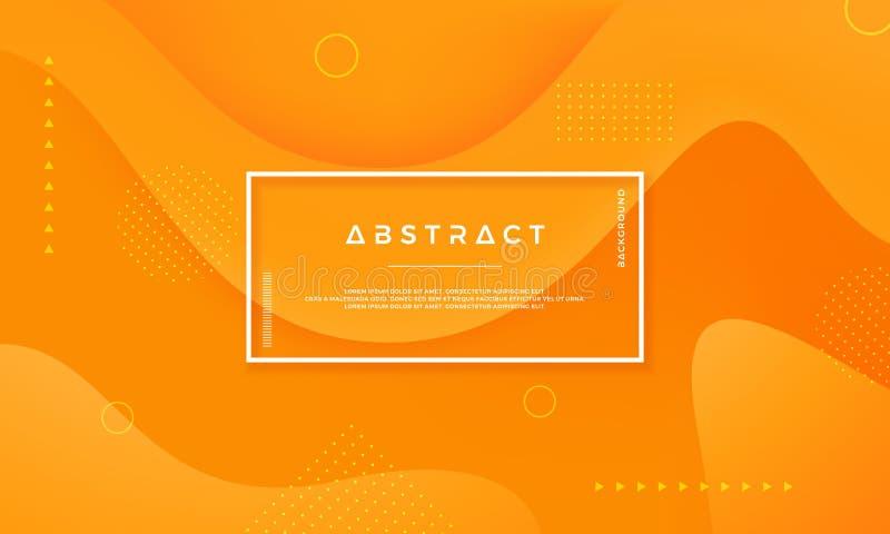 Предпосылка вектора оранжевого желтого круга Абстрактная предпосылка вектора со стилем 3d Динамическая предпосылка с концепцией  иллюстрация штока