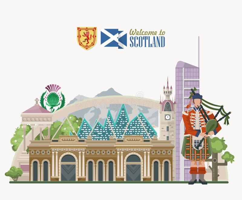 Предпосылка вектора перемещения Шотландии в современном стиле Шотландские ландшафты иллюстрация штока