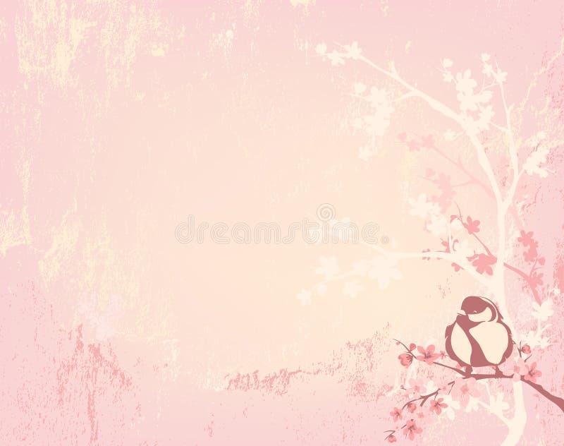 Предпосылка вектора птицы и цветения вишневого дерева иллюстрация вектора