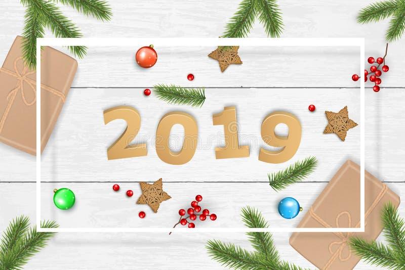Предпосылка вектора рождества и 2019 Новых Годов для поздравительной открытки бесплатная иллюстрация