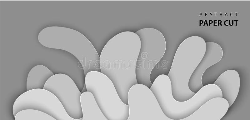 Предпосылка вектора с бумагой воды выплеска отрезала формы в сером цвете абстрактный бумажный стиль искусства 3D, план дизайна дл иллюстрация вектора