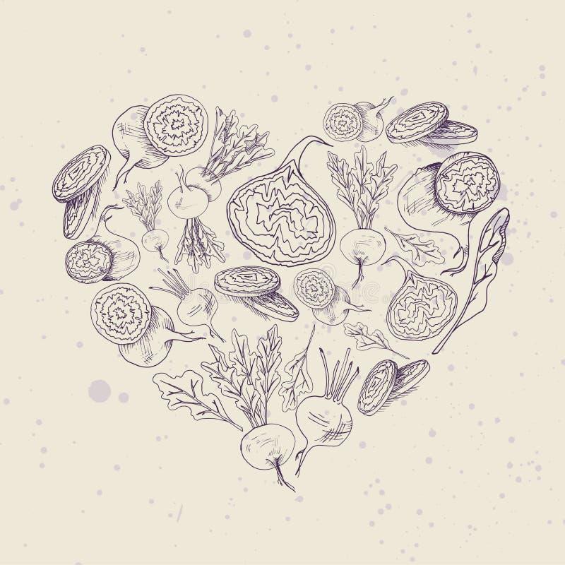Предпосылка вектора с изображением еды формы сердца руки иллюстрации корня свеклы вычерченным иллюстрация вектора