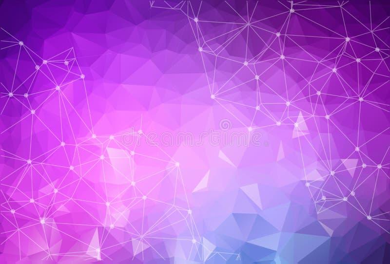 Предпосылка вектора технологии низкого поли пурпура конспекта голубая conn иллюстрация вектора