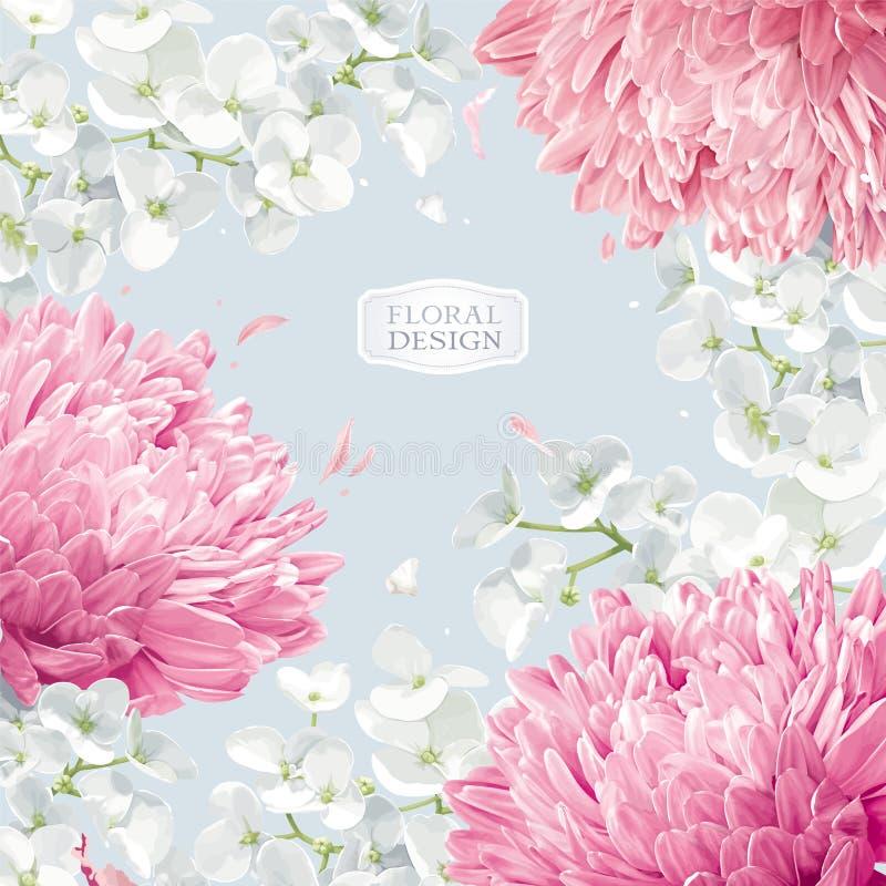 Предпосылка вектора цветения хризантем и Яблока флористическая иллюстрация вектора