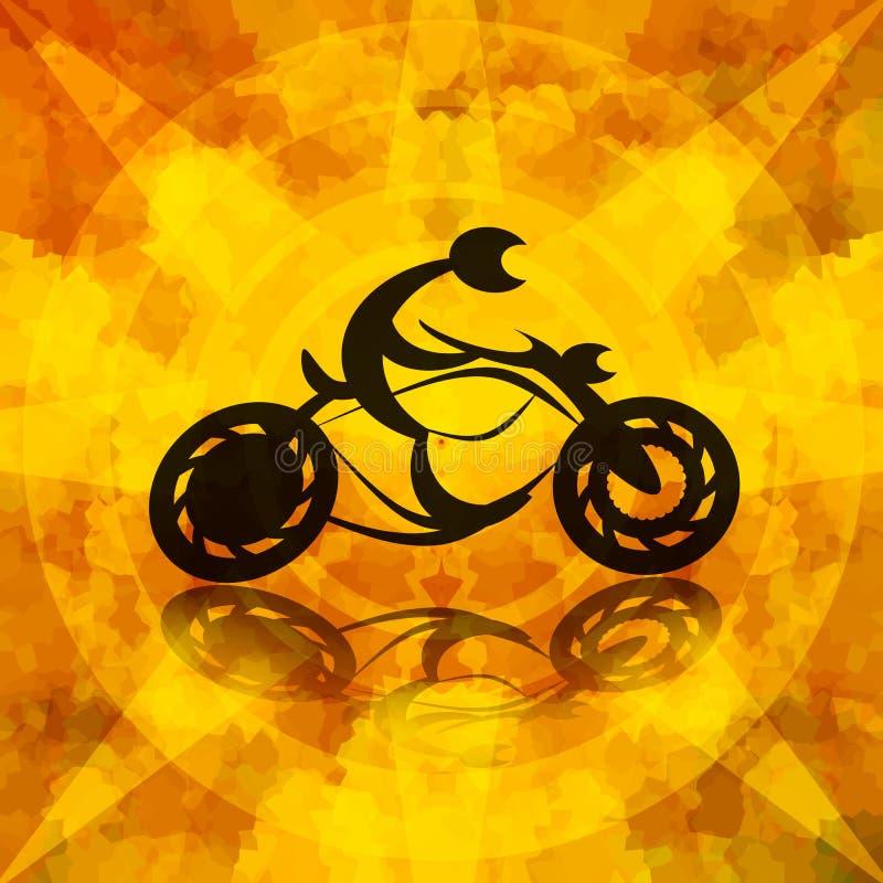 Предпосылка велосипедиста мотоцикла горящая иллюстрация вектора