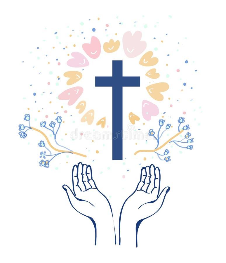Предпосылка вероисповедания христианства с руками или молитвой и крестом, цветками вокруг также вектор иллюстрации притяжки corel иллюстрация штока