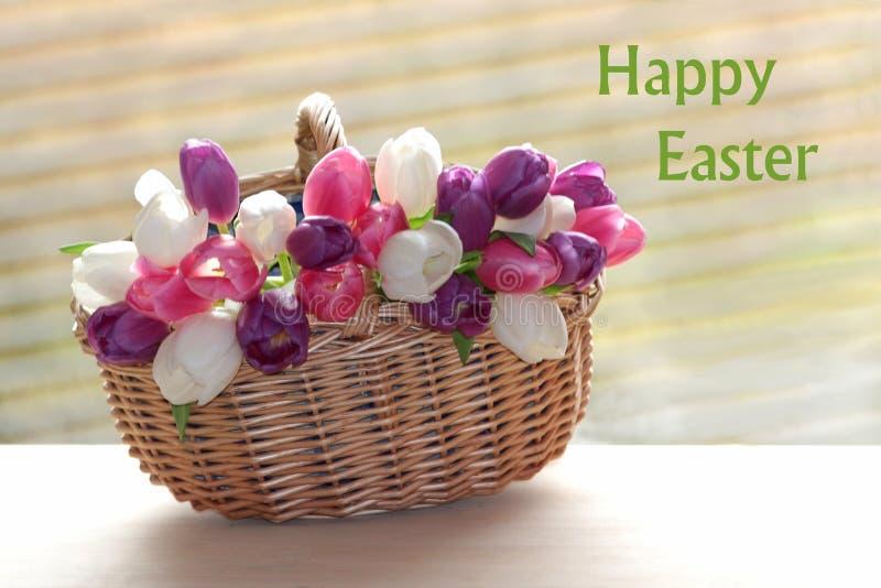 Предпосылка весеннего времени с плетеной корзиной заполнила с тюльпанами стоковое фото rf