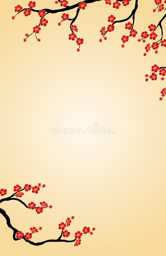 Предпосылка ветвь вишни на бежевой вертикали бесплатная иллюстрация