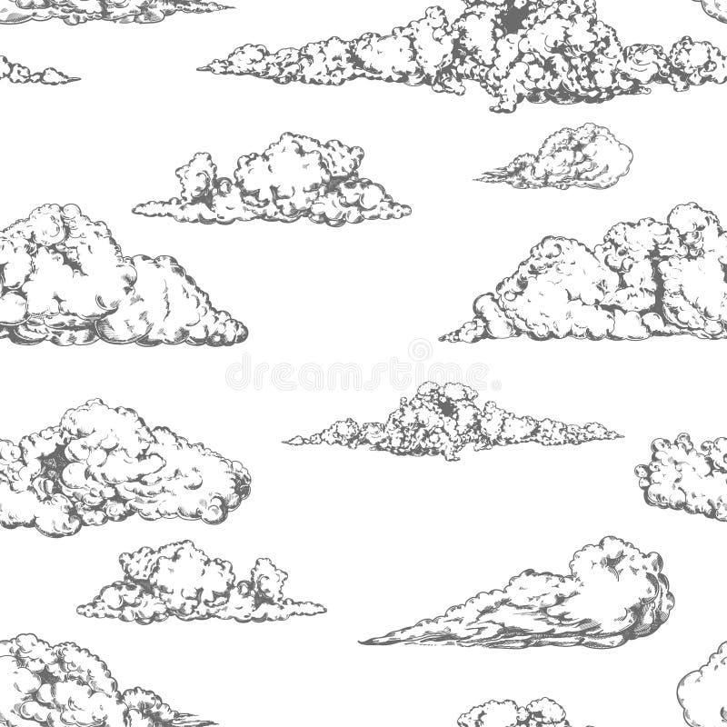 Предпосылка винтажной руки вычерченная безшовная с картинами облаков иллюстрация штока